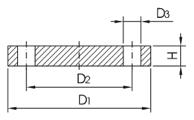 Фланец глухой Dn32/42,4мм Din2527 PN16 AISI316L/1.4404